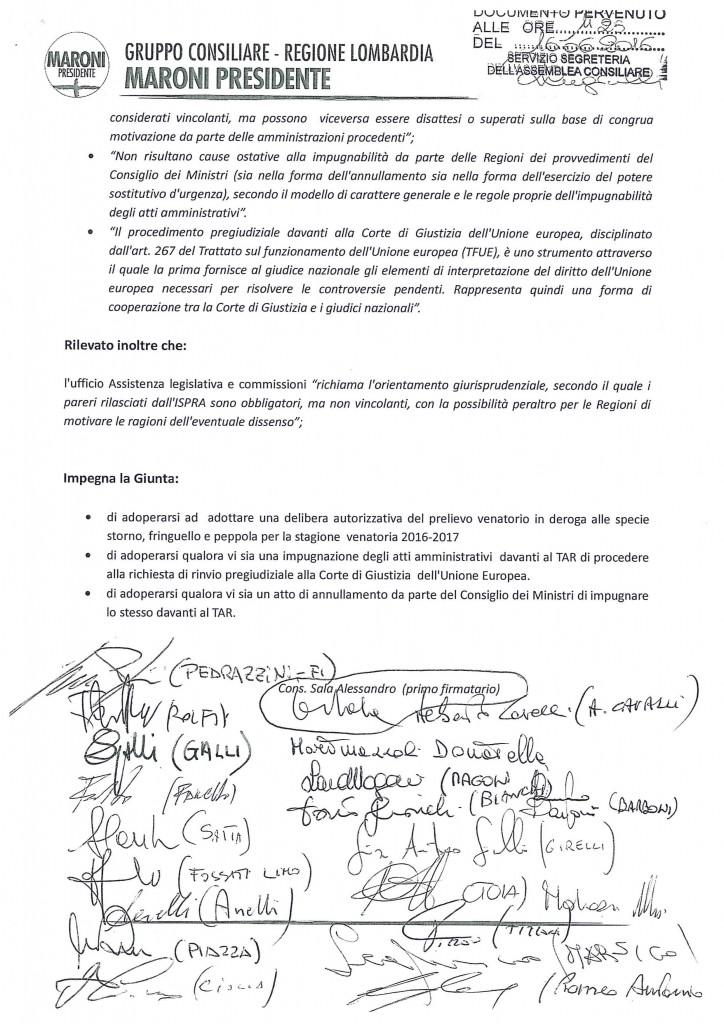 mozione urgente prelievo venatorio in deroga 16 giugno 20163