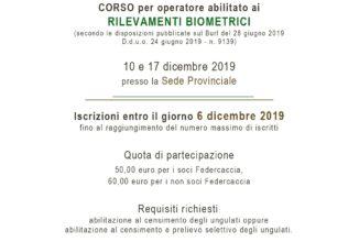 CORSO per operatore abilitato ai RILEVAMENTI BIOMETRICI – 10-17 dicembre 2019