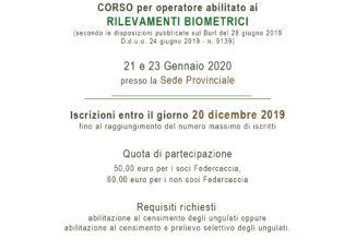 CORSO per operatore abilitato aiRILEVAMENTI BIOMETRICI – 21 e 23 gennaio 2020