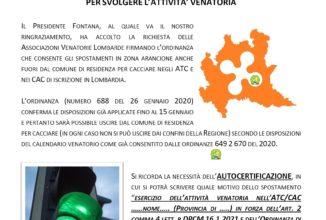 IL PRESIDENTE FONTANA HA FIRMATO LA NUOVA ORDINANZA  PER GLI SPOSTAMENTI IN ZONA ARANCIONE  PER SVOLGERE L'ATTIVITA' VENATORIA